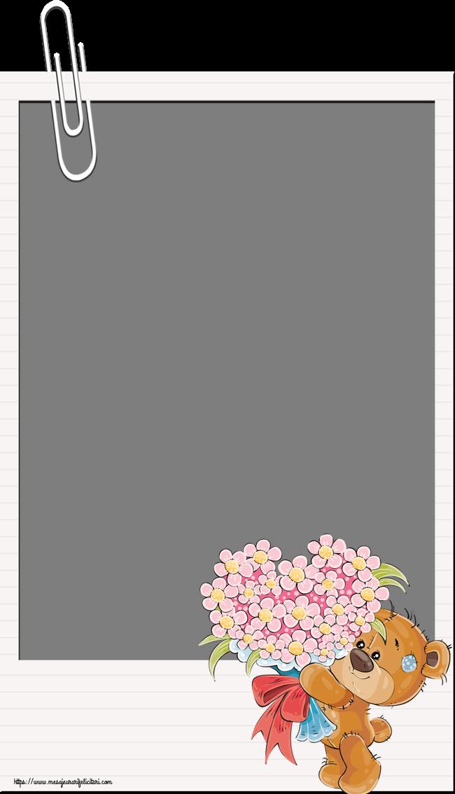 Felicitari personalizate cu poza ta - Rama foto - Ursulet cu buchet de flori