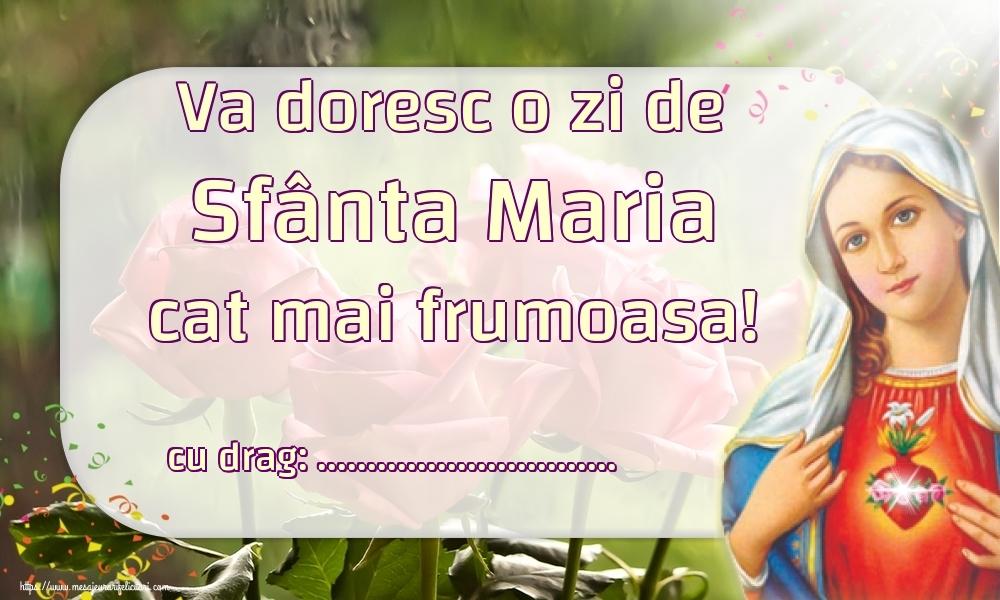 Felicitari personalizate de Sfanta Maria Mica - Va doresc o zi de Sfânta Maria cat mai frumoasa! ...