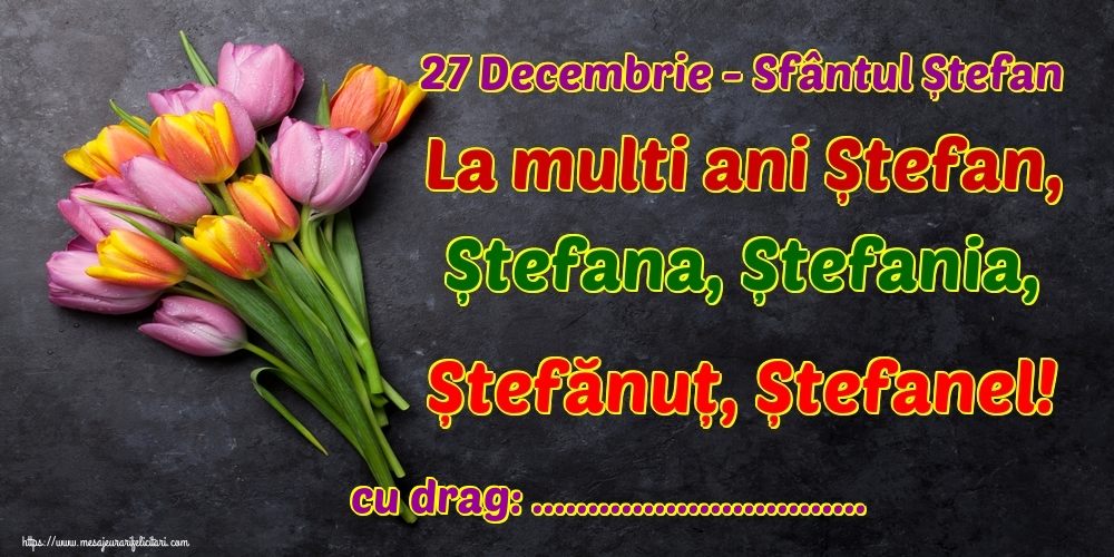 Felicitari personalizate de Sfantul Stefan - 27 Decembrie - Sfântul Ștefan La multi ani Ștefan, Ștefana, Ștefania, Ștefănuț, Ștefanel! ...