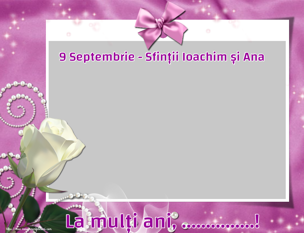 Felicitari personalizate de Sfintii Ioachim si Ana - 9 Septembrie - Sfinții Ioachim și Ana La mulți ani, ...! - Rama foto