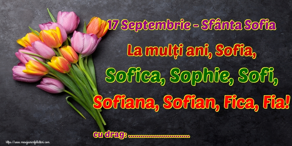 Felicitari personalizate de Sfânta Sofia - 17 Septembrie - Sfânta Sofia La mulți ani, Sofia, Sofica, Sophie, Sofi, Sofiana, Sofian, Fica, Fia! ...!