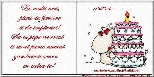 Felicitari personalizate de zi de nastere - La multi ani plini de fericire si de impliniri! pentru ...
