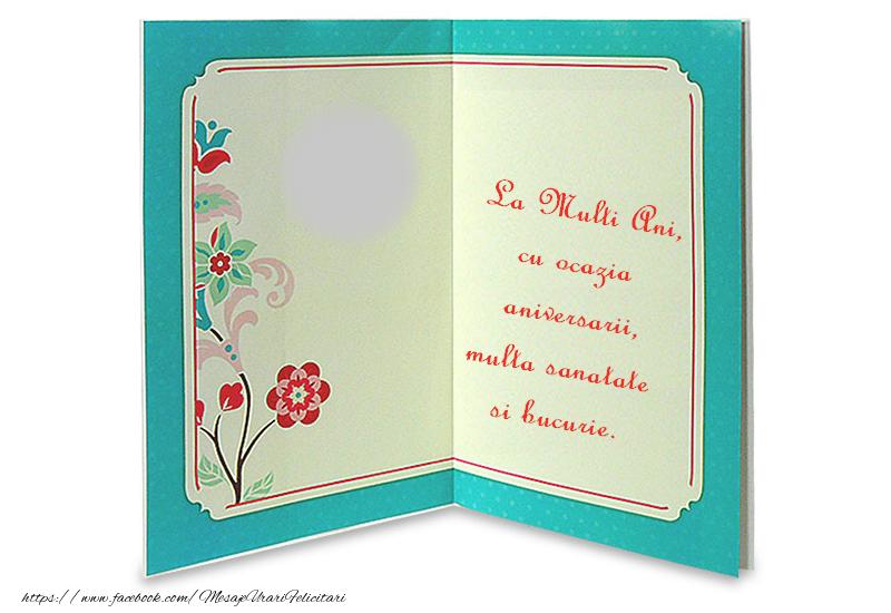 Felicitari personalizate de zi de nastere - La Multi Ani, cu ocazia aniversarii, multa sanatate si bucurie.