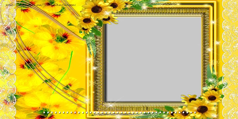 Felicitari personalizate de zi de nastere - Felicitare cu flori, poza si text