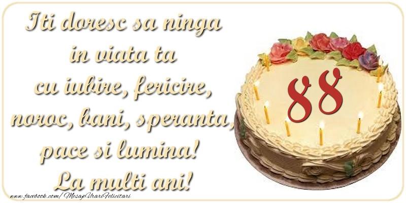 Iti doresc sa ninga in viata ta cu iubire, fericire, noroc, bani, speranta, pace si lumina! La multi ani! 88 ani