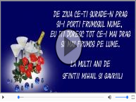 Felicitare muzica de Sfintii Mihail si Gavriil!