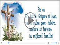 Felicitare muzica de Sfintii Vasile, Grigore si Ioan!