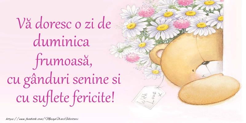 Vă doresc o zi de duminica frumoasă, cu gânduri senine si cu suflete fericite!