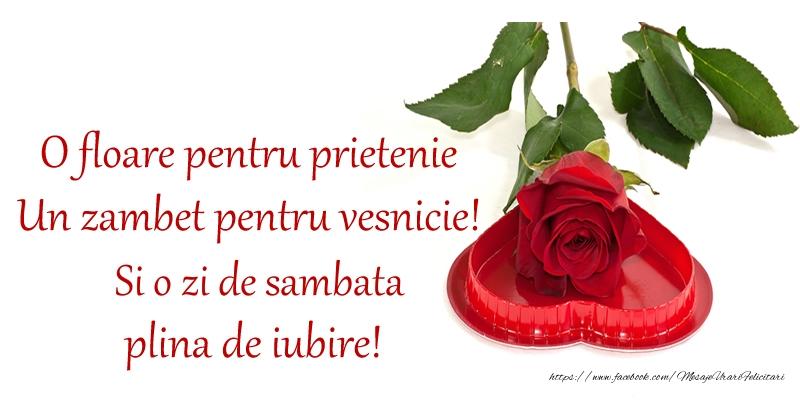 O floare pentru prietenie Un zambet pentru vesnicie! Si o zi de sambata plina de iubire!